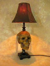 Desk Lamp w/ Corpsed Head and Antique Shade Halloween Prop Skulls NEW