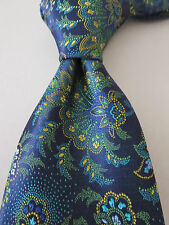 NWT ALTEA Midnight Blue Based Floral Paisley Woven Silk Tie Italy $100