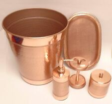 NEW 5 PC COPPER ROSE GOLD METAL,SOAP DISPENSER+TRAY+TOOTHBRUSH+TRASH CAN+JAR