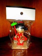 World Market Japanese Wood Kokeshi Doll Red Kimono Gold Obi Green Maigasa