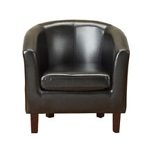 Black Faux Leather PU Tub Chair Armchair Dining Living Room Office Furniture New