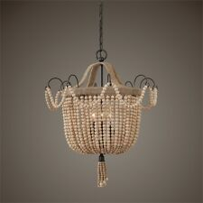 UTTERMOST HORCHOW  LUXE CREAM  BEADED WOOD ROPE ACCENTS PENDANT CHANDELIER