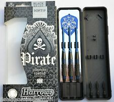 Harrows Pirate ebonite enduit bleu cerclée de laiton pointe douce fléchettes 16g