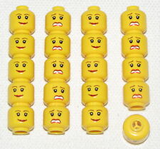 LEGO LOT OF 20 NEW YELLOW MINIFIGURE HEADS FEMALE GIRL DUAL SIDED HEADS