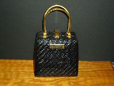 Koret Vintage 1960's Black Patent Weave Bag Gold  Medal Handles & Feet