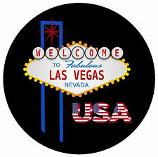 LAS VEGAS, USA - FLAG / SIGHTS - ROUND SOUVENIR FRIDGE MAGNET - BRAND NEW - GIFT