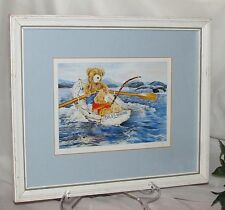 WENDY TOSOFF PRINT A WHALE OF A TALE 1987 MATTED FRAMED ART CARD TEDDY BEAR KIDS