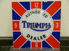 "*NEW* 15"" TRIUMPH MOTORCYCLES BRITISH FLAG MOTOR OIL RD GLASS FACE PAM CLOCK"