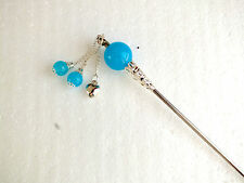 BIG TURQUOISE BLUE BEAD JAPANESE HAIR STICK PIN CHOPSTICK CHINESE WOMEN PARTY N