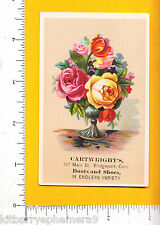 7076 Cartwright shoes & boots store trade card 387 Main St., Bridgeport, CT rose