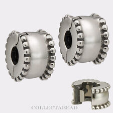 Authentic Pandora Sterling Silver Beveled Clips (2) 790267