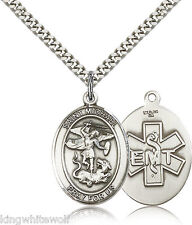 St Michael EMT Sterling Silver Patron Saint Religious Medal Necklace by Bliss