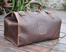 Vintage Men's Genuine Leather Large Capacity Cowhide Travel Luggage Tote Brown
