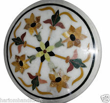 """Size 18""""X18"""" Marble Coffee Table Top Rare Marquetry Inlay Ornate Home Decor H920"""