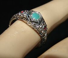 SIZE 7.5 - 1 CARAT NATURAL EMERALD & RED FIRE OPAL RING  .925 STERLING SILVER