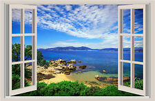 Beach Ocean Window View Repositionable Color Wall Sticker Wall Mural 3 FT