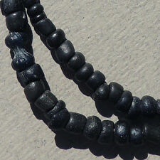 15 inch 38 cm strand ancient tiny black glass beads afghanistan #135