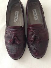 LORENZO BANFI Burgundy with Alligator/Crocodile Toe Cup Loafer Slip Ons 9M Shoe