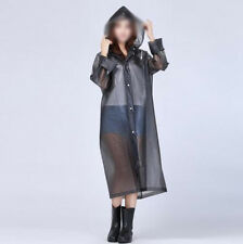 Fashion Women Hooded Transparent PVC Raincoat Waterproof Poncho Long Sleeve Coat