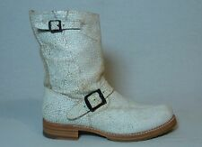 Frye Veronica White Cracked Distressed Leather Buckle Harness Boots Womens 9.5 B
