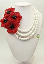 N15032005 3strds white Tridacna Stone black agate flower necklace bracelet set