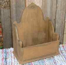 Vintage SCALLOPED CANDLE BOX Comb/Grain Painted Pine Early American Style Taupe
