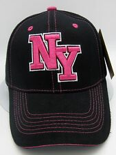 NY NEW YORK City Cap Hat NYC Yankees Mets Rangers Giants Jets Black Pink NWT