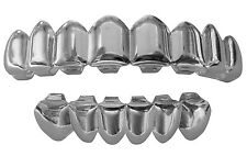 Hip Hop Silver Mouth Teeth Grills Grillz 8 Top 6 Lower Set - Player II