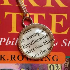 VINTAGE RETRO STYLE HARRY POTTER EXPELLIARMUS SPELL BOOK QUOTE NECKLACE