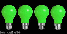 4 Pack GREEN Coloured Bayonet Party / Festoon Light Globes 25W B22