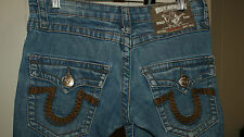 TRUE RELIGION JOEY SUPER T THICK STITCH Straight LEG WOMENS JEANS SZ 27 x 32