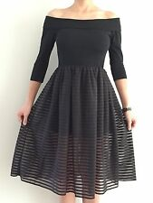 Women's Black Off Shoulder Wedding Cocktail Party Formal Midi Dress Size 8-10