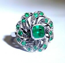 Vintage 18K White Gold Vivid Green Colombian Emerald Swirl Cocktail Ring Sz 5.5