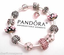 Authentic Pandora Silver Bangle Charm Bracelet with European charms Love Pink