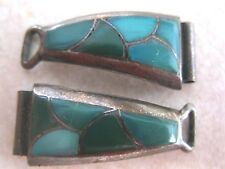 VINTAGE INLAID TURQUOISE STERLING SILVER WATCH TIPS MARKED DEWA SOUTHWESTERN OLD