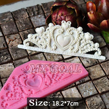 Crown Jewelry Heart Silicone Mould Fondant Bake Cake Decorating Icing Sugar Mold