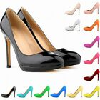 FASHION WOMENS PATENT HIGH HEELS ROUND TOE CORSET STILETTO COURT SHOES SIZE 3-8
