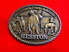 1982 Hesston National Finals Rodeo All Around Cowboy Belt Buckle meau11