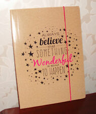 BEIGE/TAUPE A4FILE WALLET/ FOLDER Pink ELASTIC ALWAYS BELIEVE that SOMETHING....