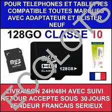 CARTE MÉMOIRE MICRO SD 128 GO GB CLASSE 10 ADAPTATEUR LG SAMSUNG SONY BLISTER