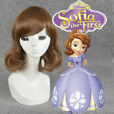 Disney Sofia the First cosplay wig fashion medium brown curly hair full wigs**