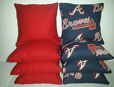 SET OF 8 ALL WEATHER ATLANTA BRAVES CORNHOLE BEAN BAGS ***FREE SHIPPING***