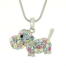 DOG w Swarovski Crystal Pet Puppy Dogie New Multi Color Pendant Necklace Jewelry