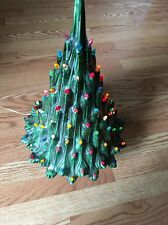 "Vtg. Large 20"" Atlantic Mold Ceramic Multi Colored Lighted Green Christmas Tree"