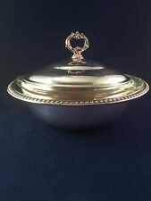 VINTAGE SHERIDAN SILVER PLATED SERVING DISH ANCHOR HOCKING 1.5 QT BOWL WITH LID