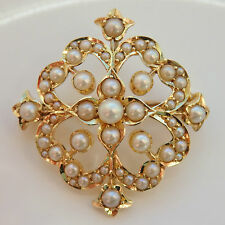 Antique Victorian Kite Shaped 9ct Gold Pearl set Foliate Brooch Pendant c1895