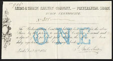 Leeds & Thirsk Railway Co., Scrip certificate, 1 preference share, 1846