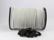 8mm Expanderseil weiß 10m + 10 Spiralhaken Gummiseil Planenseil Haken Seil