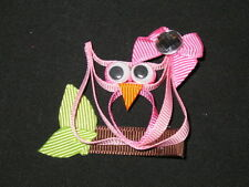 """NEW """"PINK OWL"""" Ribbon Sculpture Girls Hairbow Clip Clippie Bow Boutique Summer"""