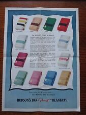 1949 Hudson's Bay Point Blankets single-sheet 2-sided handout advertisement
